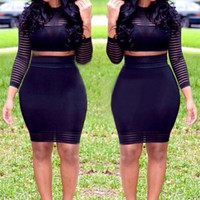 Club & Party Sexy Women Lady gauze Striped Bandage Dresses Clubwear Long Sleeve Bodycon Dress Vestidos 2 pcs 5871 = 1697092932