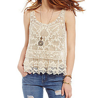 Takara Embroidered Mesh Tank | Dillards.com