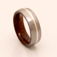 Mens Wedding Band with interior  wood and Titanium ring silver line