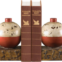 0-016309>Pair Fishing Bobber Bookends Red/White
