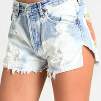 Watercolor Blossom Levi Cutoffs By The Laundry Room - $95.00 : ThreadSence, Women's Indie & Bohemian Clothing, Dresses, & Accessories