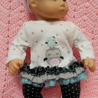 """AMERICAN GIRL Bitty Baby Clothes """"Owl Love"""" (15 inch) doll outfit top dress, leggings, booties/ socks, and headband / hair clip"""