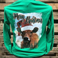 Southern Chics Merry Christmas Cow Long Sleeve Girlie Bright T Shirt