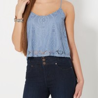 Light Blue Lace Swing Tank Top | Casual Tank Tops | rue21