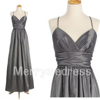 V-neck Strapless Spaghetti Straps Lace-up Long Bridesmaid Celebrity Dress, Satin Chiffon Formal Evening Party Prom Dress Homecoming Dress