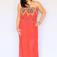 Coral Border Print Maxi Dress with Cinched Waist