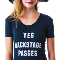 American Bandit Yes Backstage Pass 70s Tee Black/White