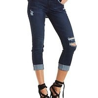 DOLLHOUSE DARK WASH ROLLED SKINNY JEANS