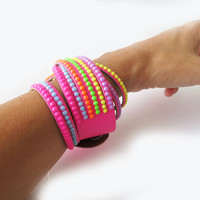 Leather Cuff Bracelet, Colorful Studded Rhinestone Cuff Collar, Bright Neon Colors Fuchsia Pink Sunny Yellow