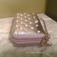 Zip-Around Wallet.  Double Zippered Continental with  Silver Metallic Finish.  Carry As a Wallet, Clutch or Wristlet