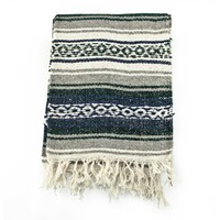 Mexican Blanket Serape colors black, grey & white