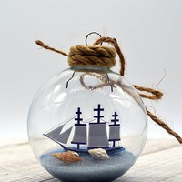 Sailor boat ornament, sailng gifts, ocean boating gift, personalized beach lovers gift, beach ornament