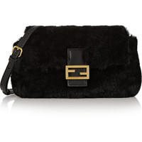 Fendi - Baguette micro shearling and leather shoulder bag