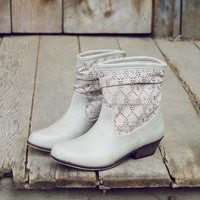 Laced Path Boots in Stone