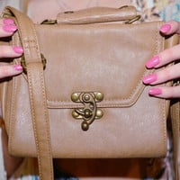 Vintage style brown leather stachel, Vintage Leather purse with Shoulder strap, Cute girly Purse