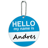 Andres Hello My Name Is Round ID Card Luggage Tag