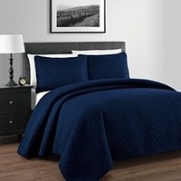 King / California-King size Navy Coverlet 3pc set, Luxury Microfiber Checkered Quilt by Royal Hotel