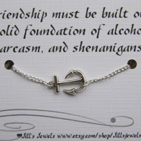 Anchor Charm Anklet and Funny Friendship Card- Bridesmaids Gift - Friendship Anklet - Friends Forever - Quote Gift