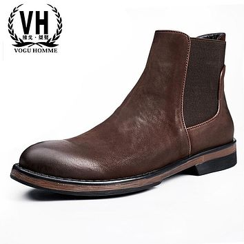New men leather high shoes, men's trend retro, Martin boots, British casual shoes, Chelsea boots