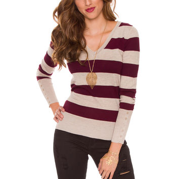 Nellie Stripe Top - Burgundy