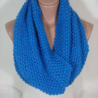 Hand Knitted Hooded Cowl/Scarf/Neck Warmer/Loop Scarf (Blue) by Arzu's Style