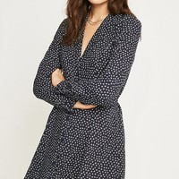 Urban Renewal Remnants Navy Floral Long-Sleeve Tea Dress | Urban Outfitters