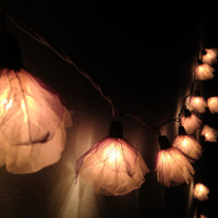 Fairy string  lights - 20 White Carnation Flower String Lights Wedding Party Home Decoration,Indoor string lights.bedroom string lights
