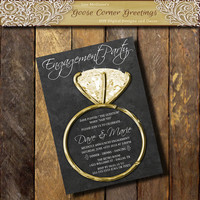 Engagment Party Invitation, Engagement Party invite,Announcement Chalkboard invitations, Couples Shower, Silver Diamond Ring,