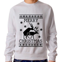 Reindeer Humping Ugly Christmas Sweater Man And Sweater Woman