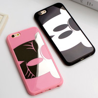 Luxurious Mickey Minnie Soft TPU Mirror Case For iphone 6 6s 7 Plus 5 5s SE Back Cover For iphone 6 6s 7 Plus Cases Coque Fundas