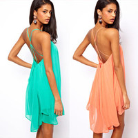 lovely — 2354 Back thin strap metal buckle cross hollow sleeveless solid color chiffon dress