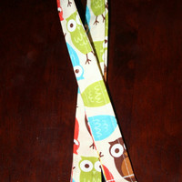 """Fabric Lanyard / ID Holder with lobster claw clasp Urban Zoologie Owls 20"""" Drop -"""