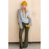 3BN Cher Solid Raw Edge Flare Pant - Olive