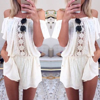 White Off Shoulder Floral Crochet Romper