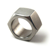 Hexagonal ring, stainless steel, recycled nut, unisex, size 7