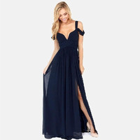Elegant Chiffon Folds Deep V-neck Luxury Sexy Maxi Dress