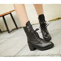 Lace Up Ankle Boots Women Shoes Fall Winter 1346