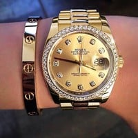 ROLEX 18kt New Fashion gold ladies champagne personality watches