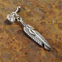 Silver Tribal Feather Tragus Piercing Cartilage by MidnightsMojo