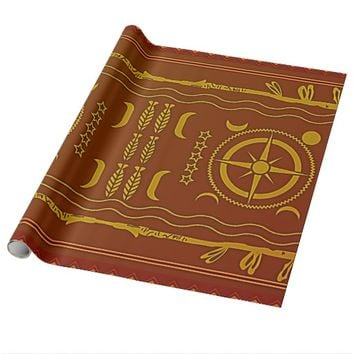 Golden Brown African Symbols Wrapping Paper