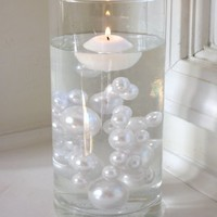 Unique Elegant Vase Fillers 95 Pieces Jumbo White Pearls with Sparkling Diamonds & Gems Accents Value Pack..... The Transparent Water Gels that are floating the Pearls are sold separately....