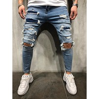 Men's Street Style Knee Out Ripped Jeans 4273