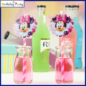 New 12 pcs Minnie Mouse Biodegradable Paper Drinking Straws Party Wedding Birthday Holiday Wave  free shipping