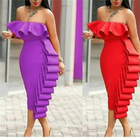 Women Tube Dress Bodycon Evening Off Shoulder Club Party Ruffles Sexy Dinner Clubwear Backless Ladies Slim Elegant Tight Robes