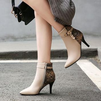 Pointed Toe Buckle Women's Stiletto Heels Ankle Boots