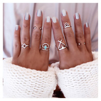Boho Vintage Geometric Midi Finger Knuckle Rings 4 Pcs Set
