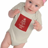 Keep Calm And Carry On Red Pattern Tee Shirts