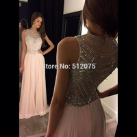 Vestidos De Festa Prom Dresses 2016 Pink Chiffon Beaded A Line Sleeveless Floor Length Party Dress Robe De Soiree z111005