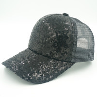 Sequins Baseball Caps for Women with Mesh Sun Hats Female Fashion Outdoor Hats Solid Color Snapback Baseball Caps Adjustable Hat