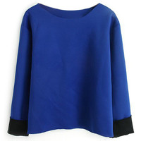 ROMWE Rolled Long Sleeves Blue T-shirt